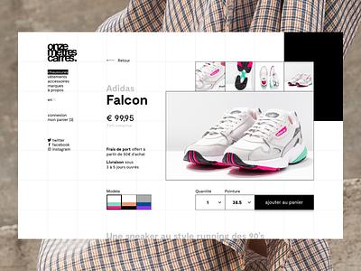 Onze Mètres Carrés — Product page contrast concept webdesign ux shop product shoes grid design ui