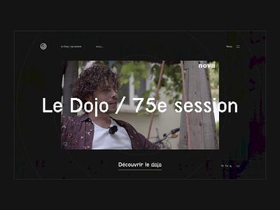 Le Dojo / 75è session — Home page home pixel ux ui glitch retro font rap music session webdesign design 75