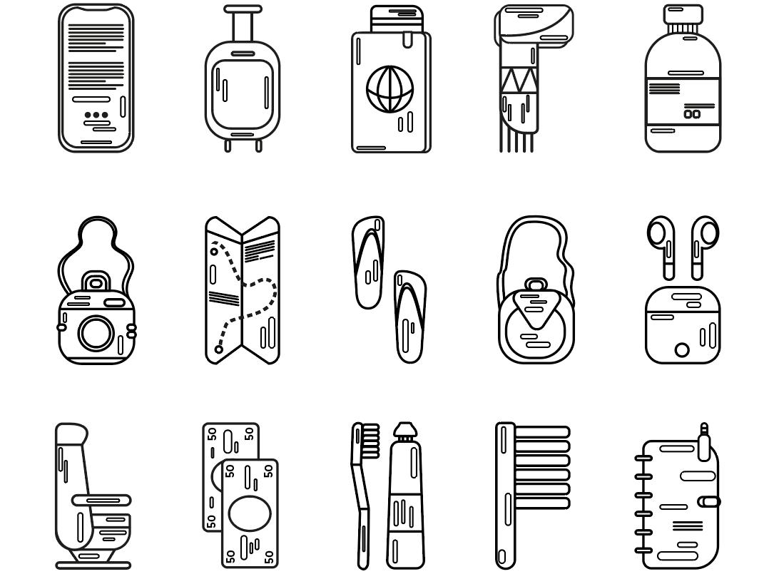 icons - travel iconography icons icon logo ui illustrator mobile app app flat vector illustration design