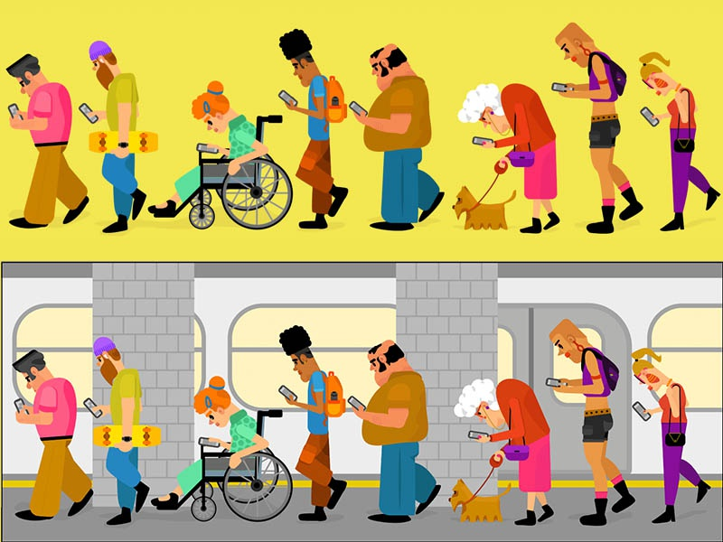 phone addiction digital drawing digital art characterdesign people vectorart vector illustration illustrator character art character designs character design subway