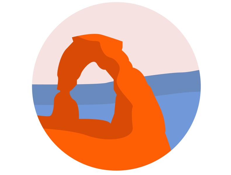 Arches National Park, UTAH graphic design art illustration design orange blue pink landscape america usa arches national park utah national park archesnationalpark arches