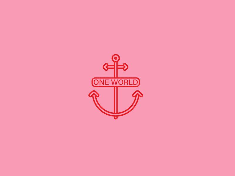 Anchor One World tjmaxx red pink earth planet world one world anchor logo aquatic ocean graphic design logo design anchor