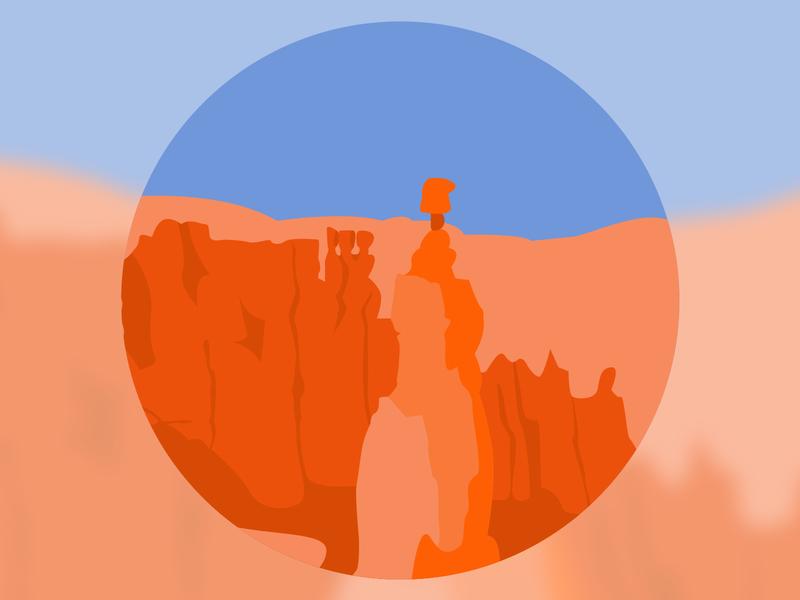 Bryce Canyon National Park graphicdesign stickers logo bryce canyon national park usa national parks usa parks usa blue orange landscape parks america illustration design rock formation geology national park bryce canyon