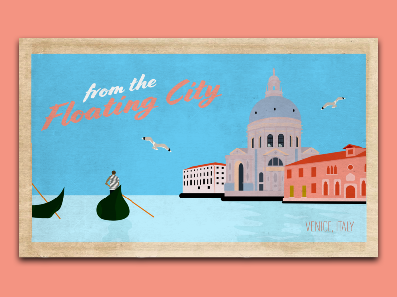 A trip to Venice adventure designs travel design buildings seagull man gondola pink blue floating city city on water city water boat postcard italy venice dribbbleweeklywarmup