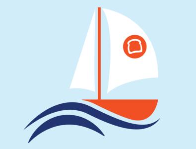 Toast Sail Boat boat sailboat ship design logo waves sailing toast