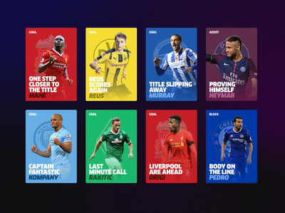 Heed App typography interaction ios 3d stack layers madebytombruzda soccer football sport ui design ux ui app animation cards