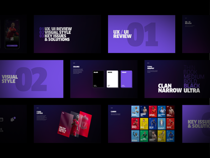 Heed App deck sport football branding colors typography slides cards design concept ui ux ios app ios