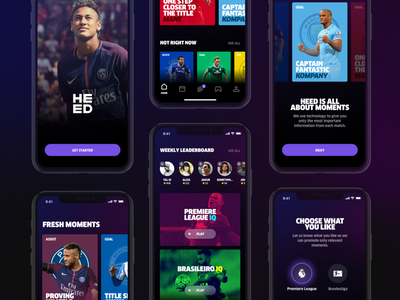 Heed App interaction uxdesign uidesign overview showcase tombruzda clan fun bold dark soccer sport ios app iphone ui ux ios screens cards