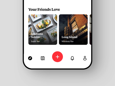 Passant Navbar list button plush add explore food interaction passant mockup ios app clean white navigation uxdesign uidesign ux ui minimal simple