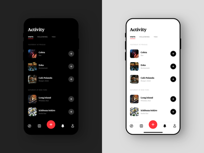 Passant Activity Screen ux design product design coffee restaurant ui design list venue simple food activity interface brand iphone design minimal dark ux ios ui app