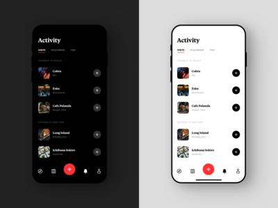 Passant Activity Screen ux design product design coffee restaurant ui design list venue simple food activity interface brand iphone design minimal dark ux ios ui app
