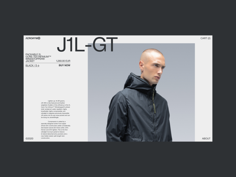Acronym — Product Detail concept white branding website concept minimal website shop design ux uiux ui interaction webdesign typography ecommerce fashion clothing acronym