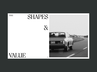 Shapes and Value — Animation typography white grid minimal ux ui shapes value portfolio photograph photography scroll interaction webdesign website animation