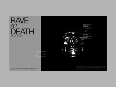 Rave to Death website design dark typography techno black and white graphic design editorial intro interaction webdesign death 3d animation skull lighting rave