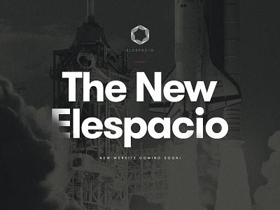 Teasing page agency website elespacio dark old aeroplane rocket launch space bold typography space shuttle