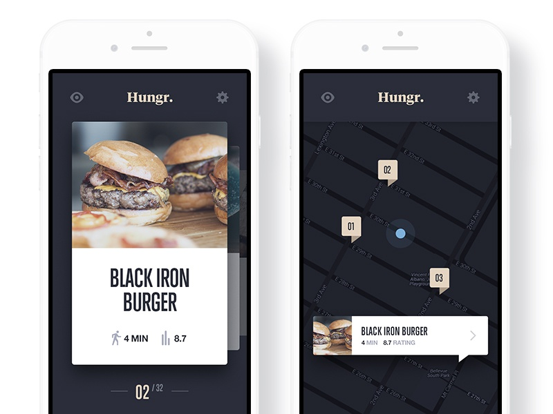 Venue listing map hungr iphone app ios lunch meal dinner food restaurant venue listing