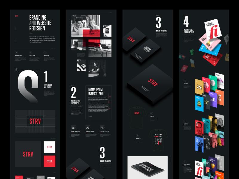 STRV Branding and Website stationery black identity brand logo typography case study website branding