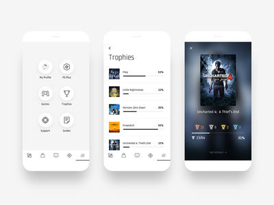 Playstation iOS App - Navigation and Trophies interface ui games trophies minimal white redesign concept app ios sony playstation