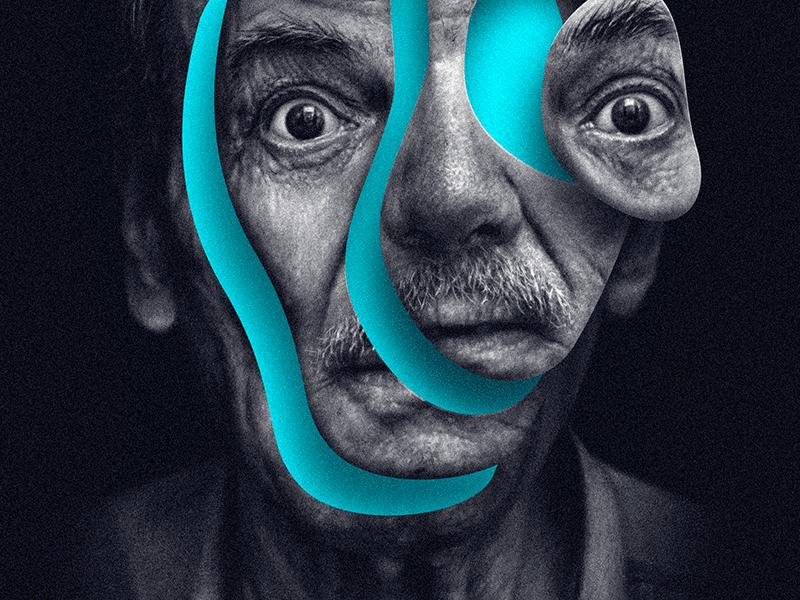 Poster dark typography face portrait weird design graphic poster techno possitiva