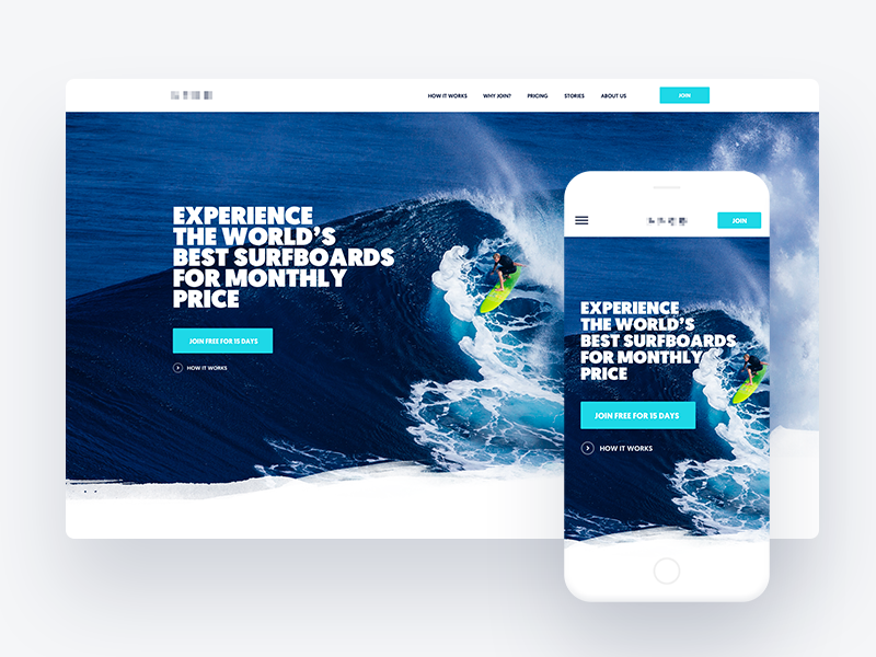 Surf Project white azure bold exploration mobile website surfing surfboard surf
