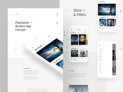 Playstation iOS App Case Study white case study concept redesign interaction playstation ux ui ios tv minimal app