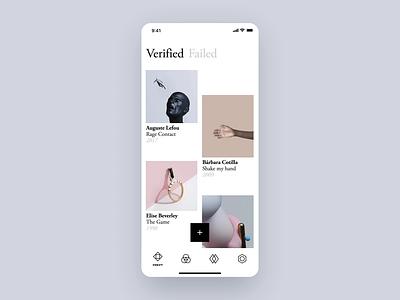 Oneprove iOS - Verified Artworks verify oneprove strvcom strv white ios ux interaction gallery minimal ui app