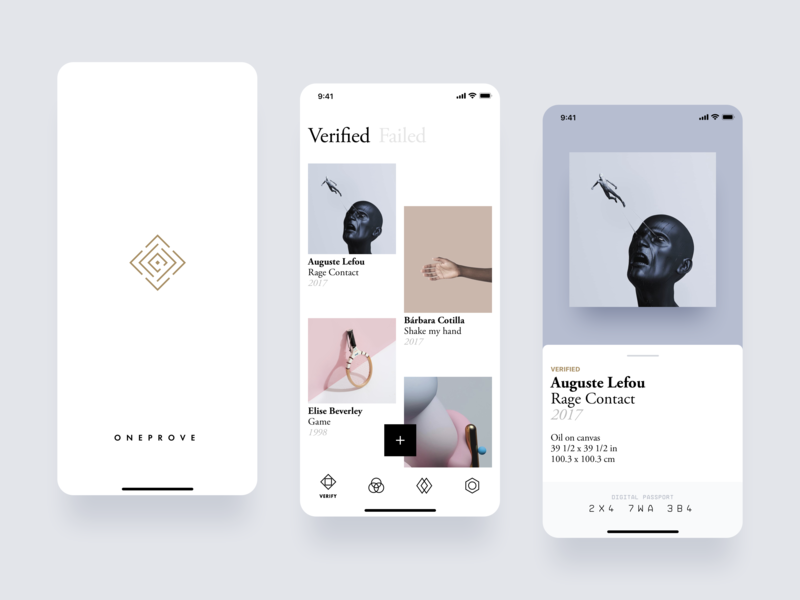 Oneprove iOS artwork art garamond typography brand filip slovacek strvcom strv oneprove gallery minimal white ios app