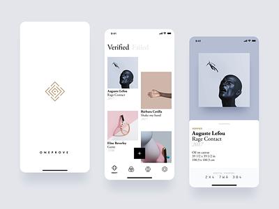 Oneprove iOS artwork art garamond typography brand filip slovacek strvcom strv oneprove gallery minimal white ios app