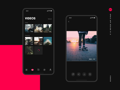 Opkix App Videos footage camera progress skateboard buttons icons iosapp ios ux ui minimal dark black gallery player videos video opkix iphone app