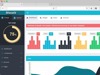 Mosaik Dashboard dashboard flat web app minimal clean ui ux interface knob homepage