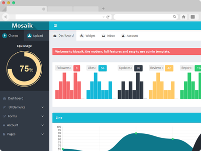 Mosaik Dashboard dashboard flat web app minimal clean ui ux interface knob homepage