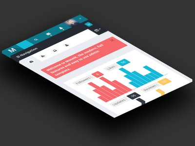 Mosaik dashboard responsive flat web app minimal clean ui ux interface knob homepage