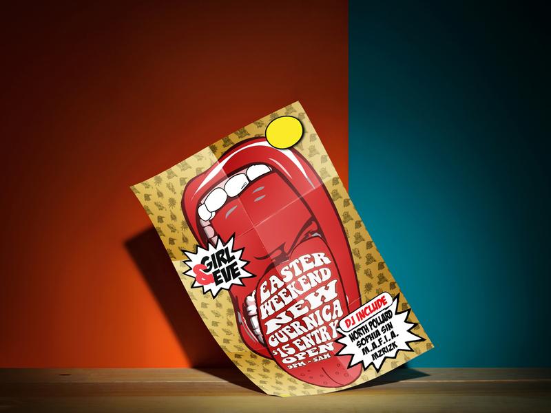 Girl & eve poster design illustration design poster design