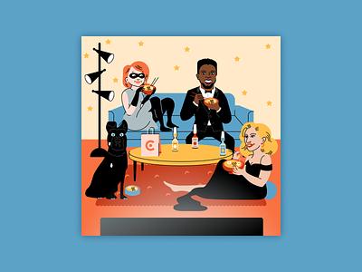 Caviar Oscars design branding vector portrait illustration ramen caviar oscars illustration figma