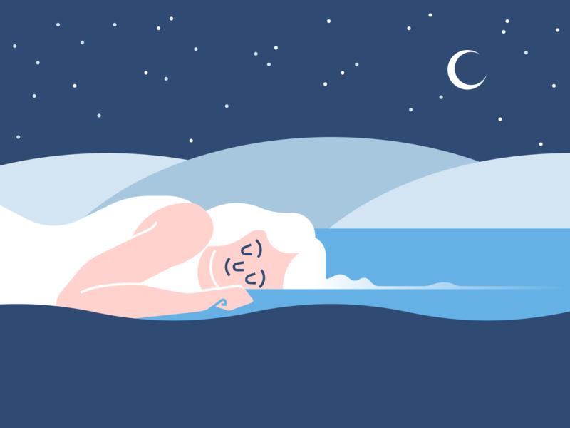 Sleep Time water iceberg sleep portrait illustration vector design illustration figma
