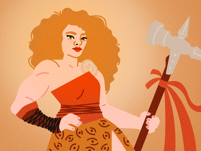 Hedwig Stonecastle barbarian dnd portrait fashion illustration portrait illustration vector design figma illustration