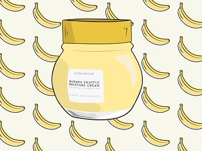 Glow Recipe Banana Soufflé Moisture Cream vector cosmetics beauty skincare design illustration