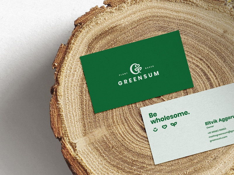 GreenSum Business Cards wholesome dribbbler business card green natural organic nature collateral businesscard lettermark brandidentity logodesign logo branding