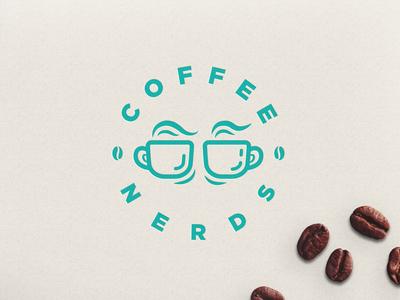 "Glasses + Coffee Logo concept "" Coffee Nerds"""