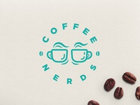 "Glasses + Coffee Logo concept "" Coffee Nerds"""