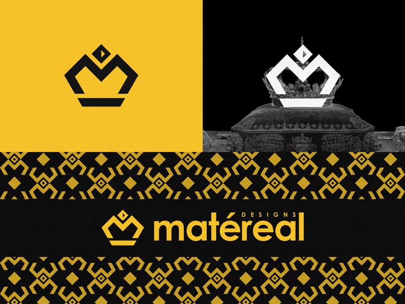 Matéreal Designs logo geometric design geometric m logo m letter crown logo crown business branding logodesigner logos yellow bold brand brandidentity dribbbler logodesign branding design logo