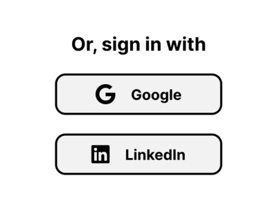 Minimal External Sign in Buttons design system button design minimalism typography logo design linkedin google sign in sign up brand ui figma buttons