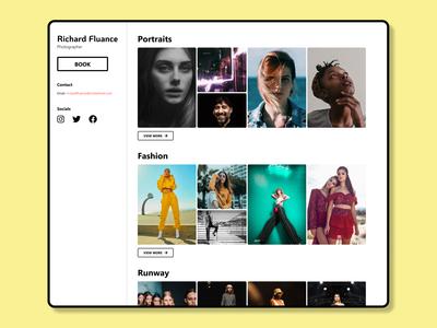 Photographer Portfolio Homepage portfolio runway fashion portrait ui landing page design photographer ux figma design