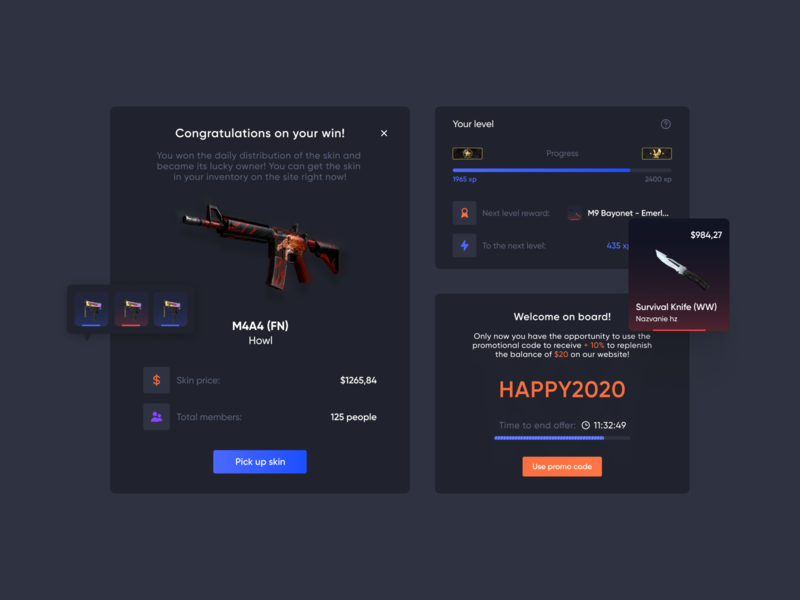 CSGO Crash Game - UI Elements popup modal window ui kit elements cards ui ux ui elements ui skins roulette interface game design game gambling esports design dashboad dark ui csgo application