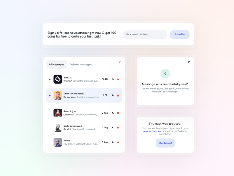 Dribbble Prmotion Service - UI Components service finance card component modal window notification messages mail newsletter ui components ui elements gradient clean dashboad interface design ux ui