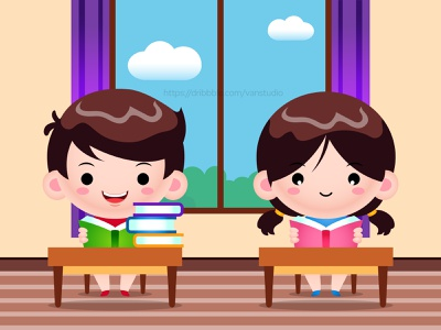 Students Reading Books In Library Cartoon Illustration student school study book mascot cartoon boy girl vector design kids illustration