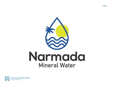 Narmada Logo Concept mineral water logo mineral water narmada logo monogram logo clever logo simple logo logo design wayan gandhi narmada