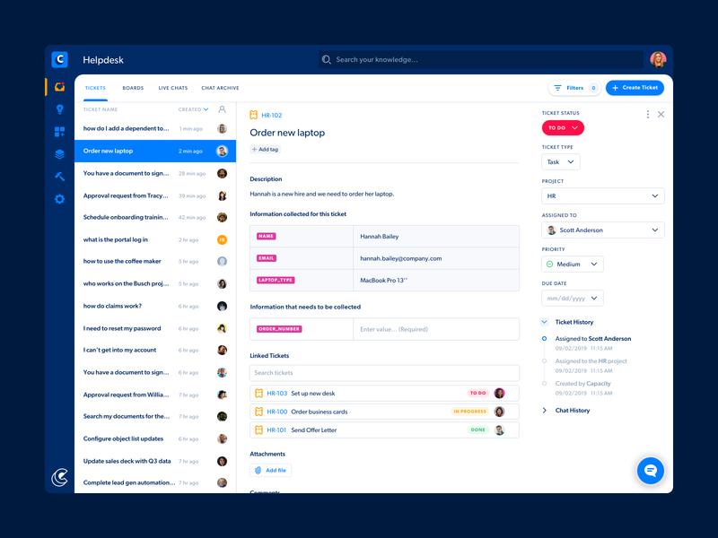 Capacity Helpdesk - Ticket View support automation ticketing tickets helpdesk saas design saas web app app desktop ux ui design clean ui