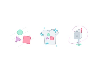Some Illustrations ui shapes clean how it works graphic icons shirt illustration