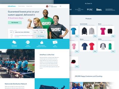 UltraPress cart marketing site landing page website free quote apparel responsive brand customize t-shirts shopping desktop